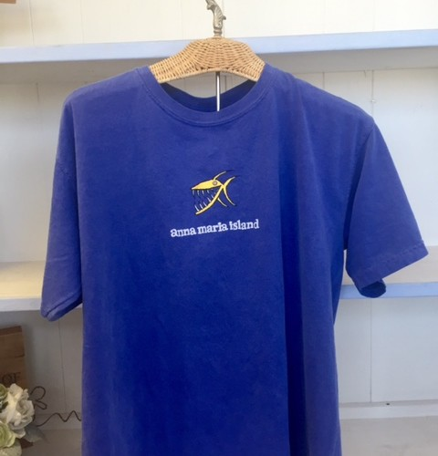 Mens Blue T Yellow Fish - Front