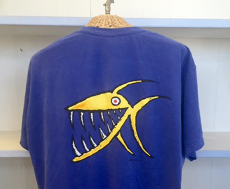 Mens Blue T Yellow Fish - Back