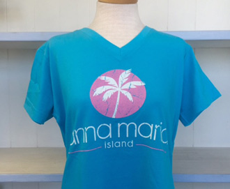 Womans Blue V Neck Pink Palm